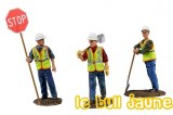Figurines ouvriers + panneau Stop
