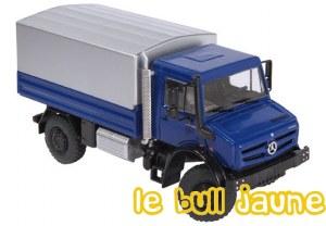 UNIMOG U 5000 bleu plateau bâché